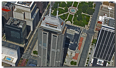 high / steep oblique of the chase tower in Indianapolis
