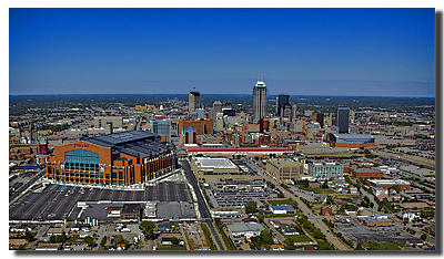 low oblique of Indianapolis with lucas oil stadium