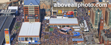 stock aerial photography of Indianapolis super bowl - downtown helicopter shots