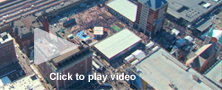 stock aerial video of Indianapolis super bowl village and other landmarks